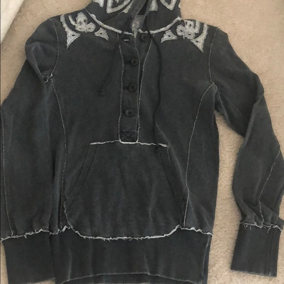 Free People Tops - Free People Raw Edge Button Hoodie Pullover Med